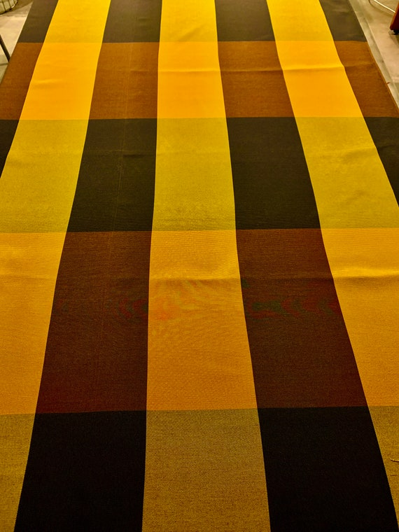 Striking Vintage 70s Brown and Gold Block Plaid Upholstery Fabric for Home Decor/ 9 Yards Available