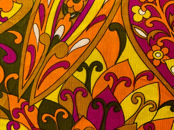 Fab 60s Neon Floral Fabric with Attitude/ Psychedelic Boho Chic Design for Apparel and Home Decor/ BTY 5 Yards Available