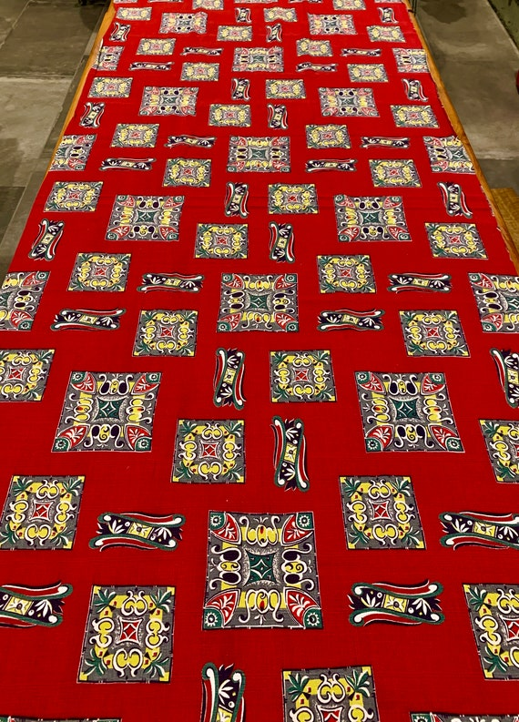 50s Mid Century Mod Atomic Tiki Barkcloth  Fabric/ Eames Era Chic Cotton Yardage for Upholstery and Home Decor/ BTY 4 Yards