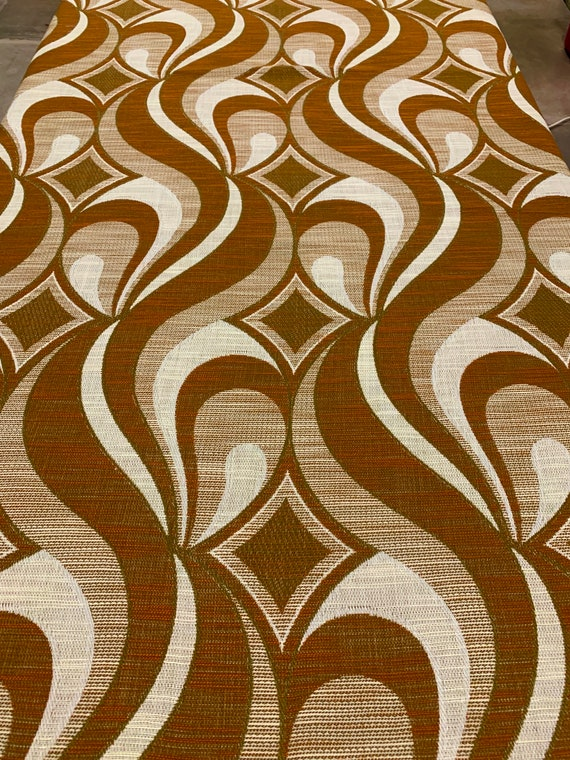"""Cool 70s Panton-esque Woven Op Art Fabric with a Scandinavian Design for Upholstery and Home Decor/ 48""""W x 2.4 Yards"""