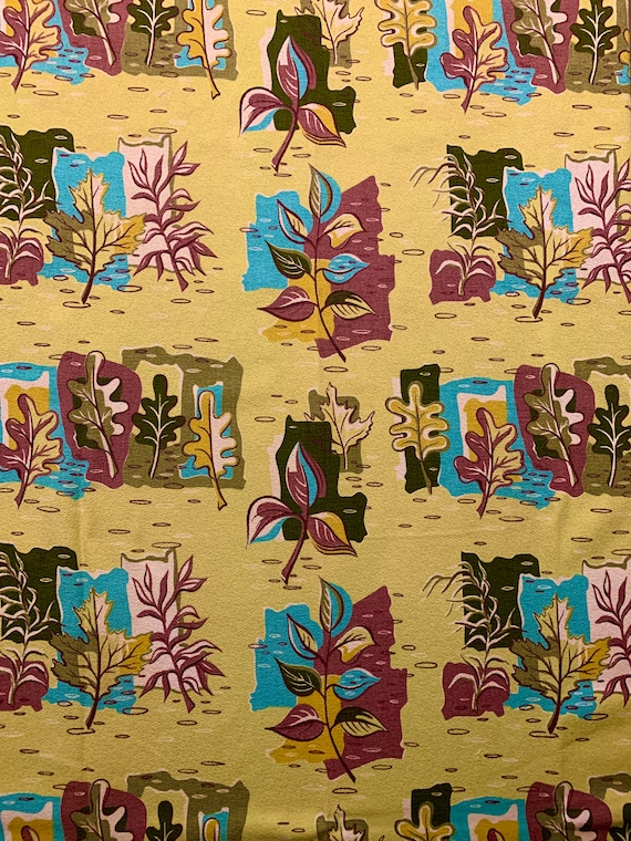 """Cool Atomic 1950s Barkcloth Fabric/Stylized Leaf Design/ Cotton Yardage for Upholstery and Home Decor/ 45""""W x 100""""L"""