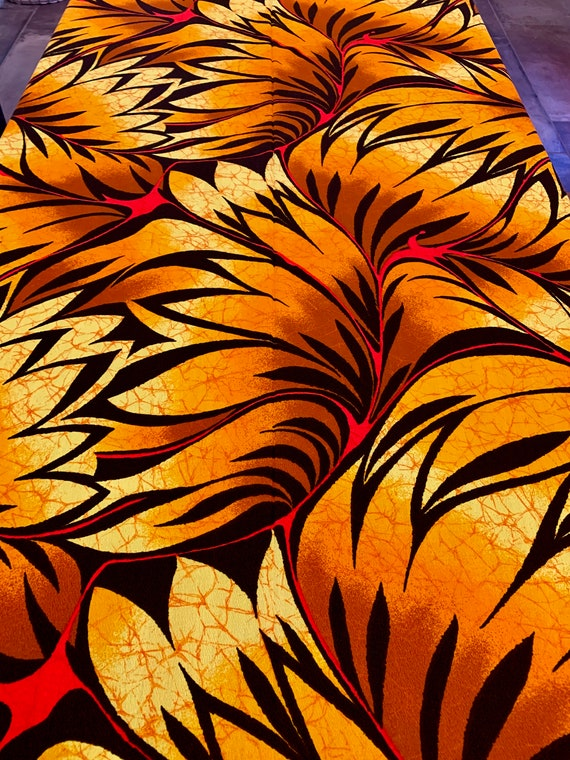 Groovy Psychedelic 70s Crepe Fabric Yardage by Hawaiian Textiles/ Apparel and Home Decor/ BTY 10 Yards Available
