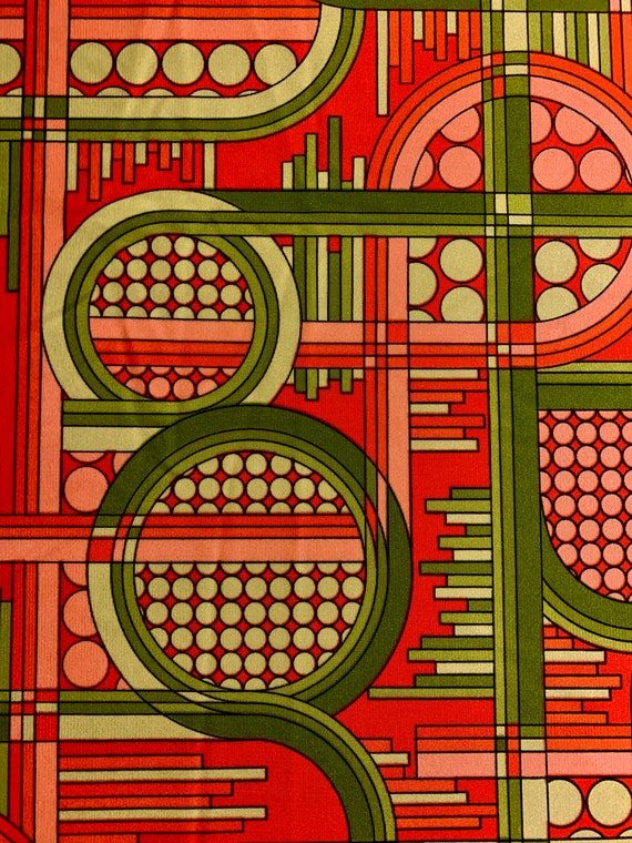 Wild and Crazy Vintage 60s Geometric Fabric Yardage for Apparel and Home Decor/ 6 Yards Available