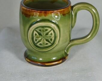Celtic Trinity Knot Coffee  Mug in Moss Green,  Brown, pottery mug,  Handmade in USA