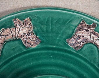 Carved Viking Serpent Chip and Dip, Forest Green, Handmade pottery, Made in USA