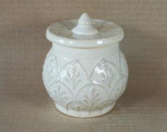 Elegant Ivory White Vanity Jar, Cottage Chic Style, handmade Pottery