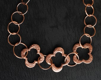 Chunky Copper Clover Chain  Necklace, Statement Necklace, Big Bold Necklace, Livery Necklace, Medieval,  handmade in USA
