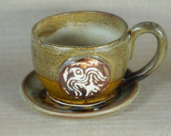 Rustic Odin Viking Raven  Coffee Cup and Saucer , Large Coffee Mug, beige, brown , handmade in USA