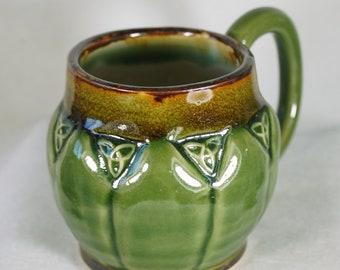 Rustic 16 oz Celtic Trinity Knot Coffee  Mug in  Moss Green,  Brown, pottery mug,  Handmade in USA