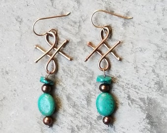 Bronze turquoise renaissance earrings, gold, pearl, medieval, handmade jewelry, made in usa