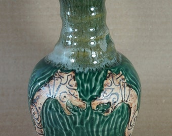 Rustic Carved Viking Serpent   Lotion Bottle, Forest Green,  Midgard Serpent, Handmade Pottery, Made in USA