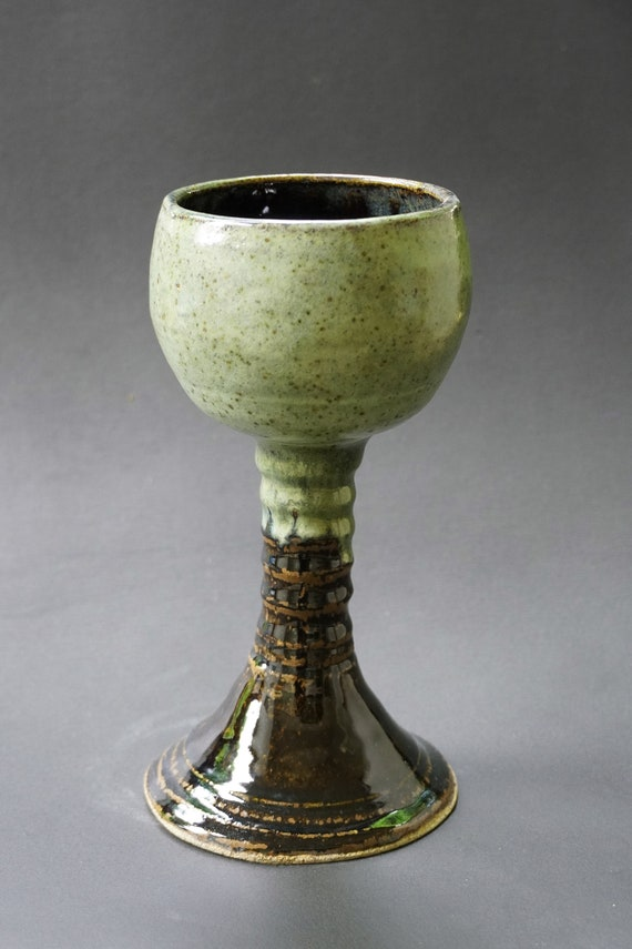 Mead Cup 2020.Rustic Green Brown Goblet Chalice Mead Cup Wine Glass Medieval Pottery Man Goblet Handmade Pottery Made In Usa