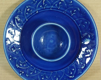 Handmade Elegant Cobalt Blue Chip and Dip, Cottage Chic Style, made in USA