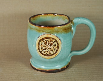 Rustic Celtic Knot Coffee Mug in Turquoise, Brown, handmade pottery, made in USA