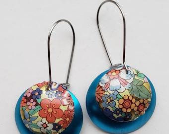 Recycled tea tin metal floral earrings