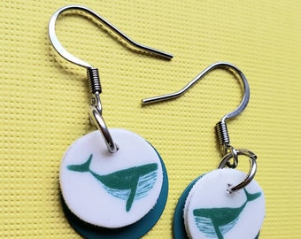 Whale Earrings with turquoise metal drop bead