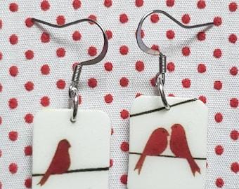 Red Birds on a Line Earrings