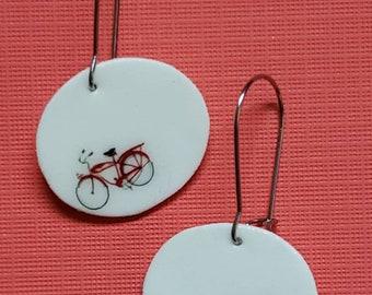 Red Bike Dangle Earrings