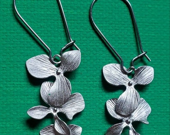 Brushed Silver Orchid Earrings