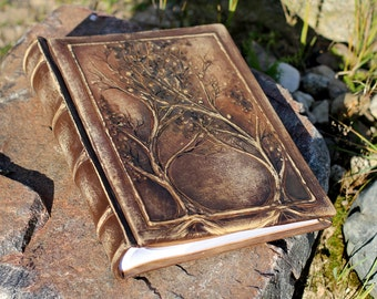 Leather Anniversary gift Photo album 13 x 9  with Tree of Life for 300 photos