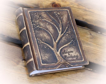 Leather photo album 10 x 7 1/2  with embossed Tree for 200 photos