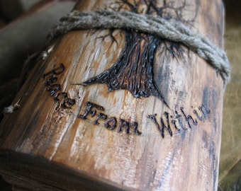 Names, date,  or intials engraving on the wood or leather items