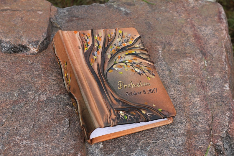 Leather photo album with Tree for 100 photos anniversary image 0