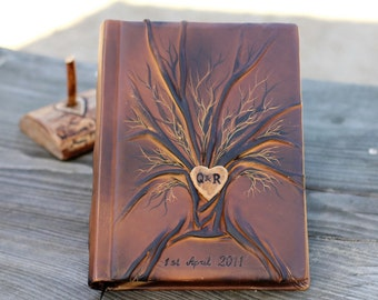 Personalized leather journal Handbound blank book Tree of life 10 1/2 x 7 1/2 with heart and initials