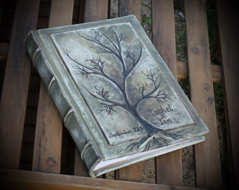 Personalized Wedding leather Photo album 13 x 9  with Tree of Life for 300 photos anniversary gift