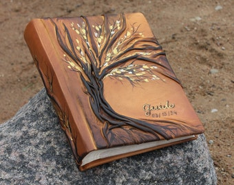 Leather photo album 10 x 7 1/2  with Tree for 200 photos personalized wedding gift