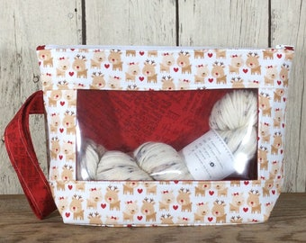 Knitting, Crochet or Embroidery pouch-Small Whatcha Got reindeer with red