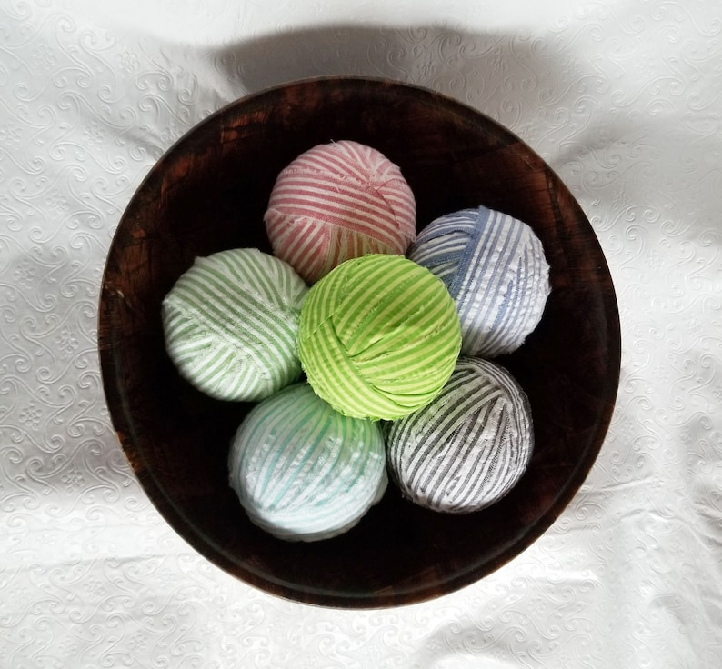 Ornies Tiered Tray Fillers Set of 6 Tuck Ins Multi-colored Seersucker Striped Bowl Fillers