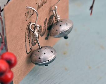 Mismatched earrings - Quirky earrings - Unusual asymmetric earrings - Geometric drop Earrings  - Silver drop earrings - Gift for tea lover