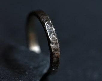 Mens ring - Mens gift-  Unisex  ring -Textured antique effect - Patinated - Oxidized sterling silver -Everyday piece - Gift