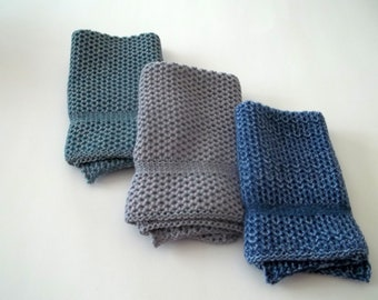 Dishcloths Knit in Cotton in Blues and Grays, Dish Cloths, Wash Cloths, Cotton Dishcloths