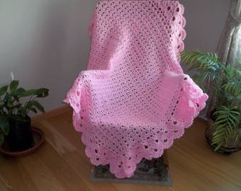 Crocheted Lacy Pink Afghan, Blanket, Throw