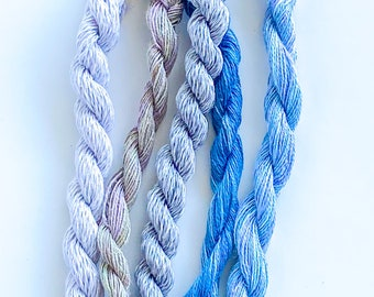 Silver Stem. Limited Edition Set. Specialty Embroidery Floss Handdyed by TheThreadGatherer. Silk Floss. Silk Threads