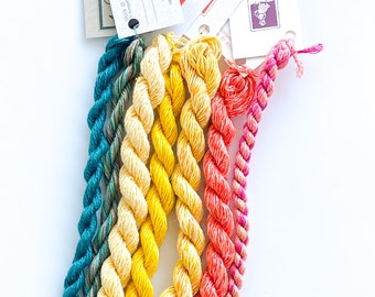 Coral Basket. Limited Edition Set. Specialty Embroidery Floss Handdyed by TheThreadGatherer. Silk Floss. Silk Threads