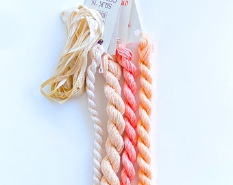 Peaches 'n Cream. Limited Edition Set. Specialty Embroidery Floss Handdyed by TheThreadGatherer. Silk Floss. Silk Threads