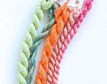 Peach Julip. Limited Edition Set. Specialty Embroidery Floss Handdyed by TheThreadGatherer. Silk Floss. Silk Threads