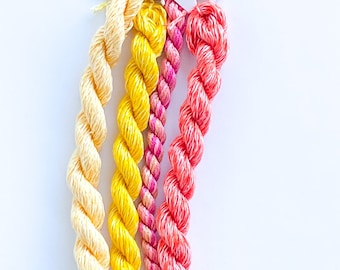 Golden Flame. Limited Edition Set. Specialty Embroidery Floss Handdyed by TheThreadGatherer. Silk Floss. Silk Threads