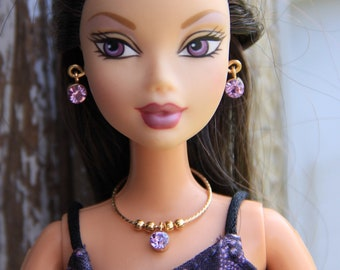 """Rhinestone doll jewelry necklace earrings fits 11.5/"""" doll 754A"""