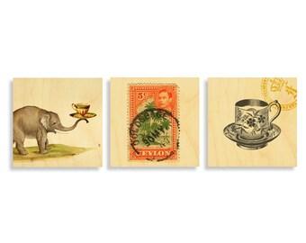 Prints on Wood, Tea lover, Tea lover gift, wall art, art print, Tea lover print set