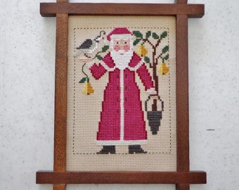 Framed Prarie Schooler Cross Stitch Santa Partridge Pear Tree