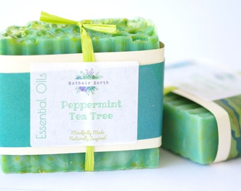 Peppermint Tea Tree Soap. Handmade soap by Mathair Earth. Mint Soap.  Essential Oil Soap. Handcrafted Soap. Mathair Earth. Tea Tree Soap.