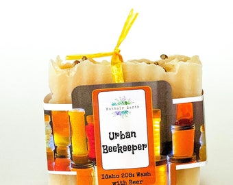 Urban Beekeeper Beer Soap. Handmade soap by Mathair Earth. Beer Soap. Natural Soap. Small Batch Soap. Handcrafted Soap. Green Beauty.