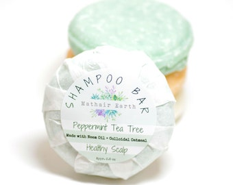 Shampoo Bar. Peppermint Tea Tree Shampoo Bar. Healthy Scalp Shampoo Bar. SLS & SLES Free shampoo bar. Scalp Health. Mathair Earth.