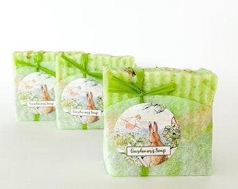 Gardener's Soap. Handmade soap by Mathair Earth. Fresh Soap. Basil Soap. Orange Soap. Thyme Soap.