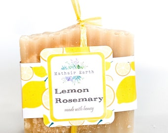 Lemon Rosemary with Honey Soap. Handmade soap by Mathair Earth. Lemon Soap.  Essential Oil Soap. Handcrafted Soap. Mathair Earth.