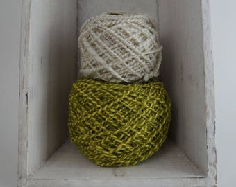 Aspen Spring & Cream Duo Hand Spun 100% Wool Yarn